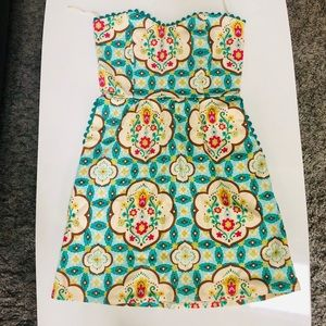 Judith March Patterned Strapless Dress